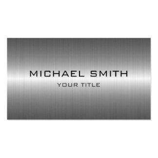 Custom Monogram Silver Stainless Steel Metal Pack Of Standard Business Cards
