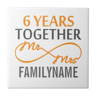 Custom Mr and Mrs 6th Anniversary Small Square Tile