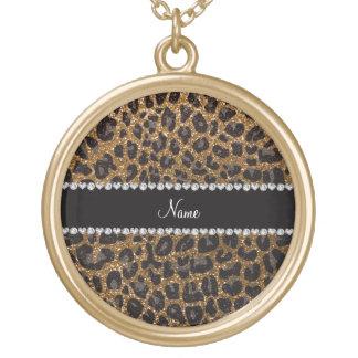 Custom name gold glitter leopard print round pendant necklace