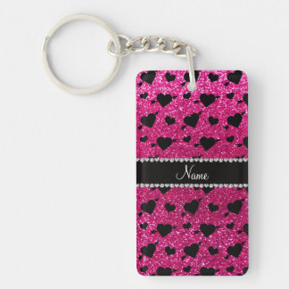 Custom name neon hot pink glitter hearts arrows Single-Sided rectangular acrylic key ring
