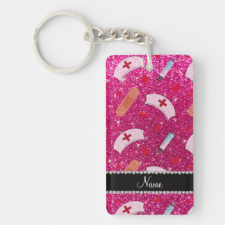 Custom name neon hot pink glitter nurse hats heart Single-Sided rectangular acrylic key ring