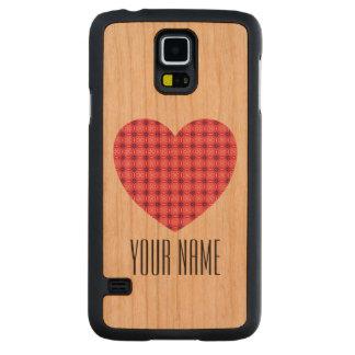 Custom Name Pink Heart Pattern Samsung Galaxy S5 Cherry Galaxy S5 Slim Case