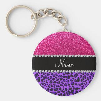 Custom name purple leopard neon hot pink glitter basic round button key ring