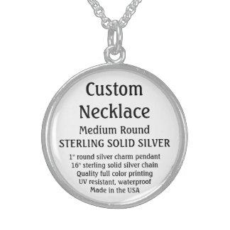 Custom Necklace - SOLID SILVER, Medium Round