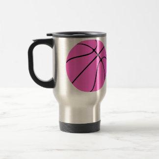 Custom Pink Basketball Stainless Steel Travel Mug