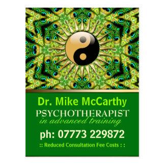 {custom request} GreenGeo Peacock YinYang Postcard