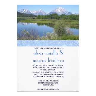 Custom Scenes Wedding Invitation w/Blue Ribbon