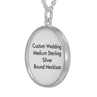 Custom Wedding Med Sterling Silver Round Necklace