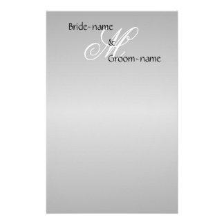 Custom Wedding Monogram Gray Black and White Customised Stationery