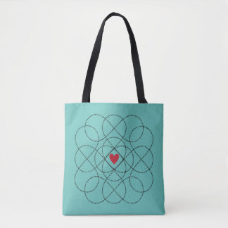 Customizable Background with Black Infiniti Love Tote Bag