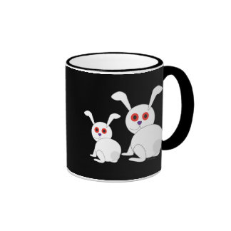 Customizable Freaked White bunnies with red eyes Ringer Mug