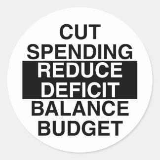 cut spending, reduce deficit, balance budget round sticker
