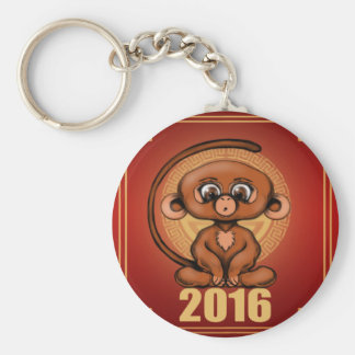 Cute 2016 Year of the Monkey Basic Round Button Key Ring