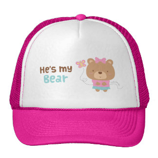 Cute Amusing Couple Female Bear and Butterfly Cap