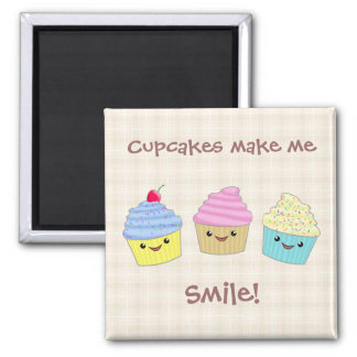 Cute and Colorful Kawaii Cupcake Trio Square Magnet