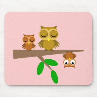 cute and funny owls mouse pad