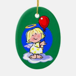 Cute Angel And Red Balloon Ceramic Oval Decoration