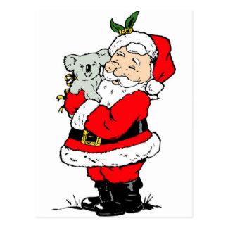 Cute Australian Christmas Santa with koala Postcard