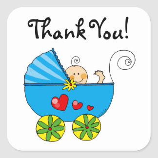 Cute baby boy thank you square sticker