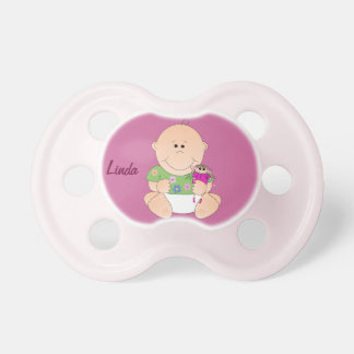 Cute Baby Girl with her doll & Name Pacifuer Baby Pacifiers
