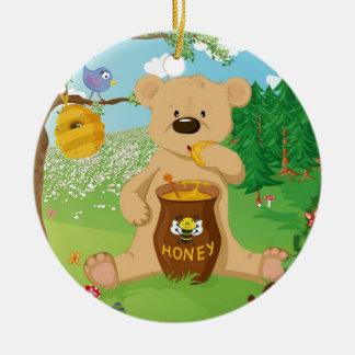 Cute bear eating honey round ceramic decoration