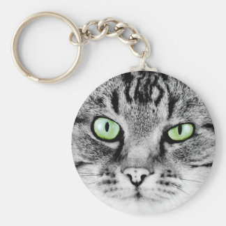 Cute beautiful cat with green eyes portrait basic round button key ring