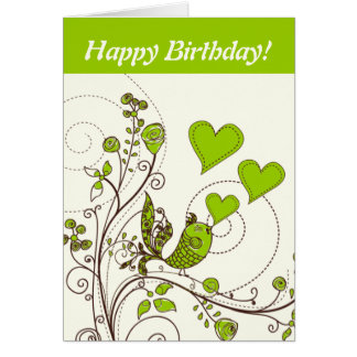 Cute bird and hearts floral green, brown custom greeting card