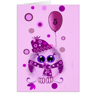 Cute birthday card with owl and text