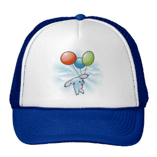 Cute Blue Bunny Flying With Balloons Cap
