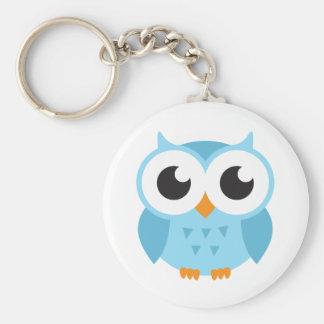 Cute blue cartoon baby owl basic round button key ring