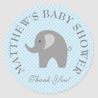Cute blue gray elephant boys baby shower stickers