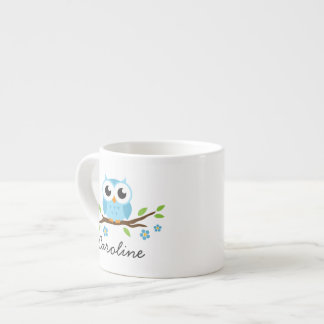 Cute blue owl on floral branch personalized name espresso mug