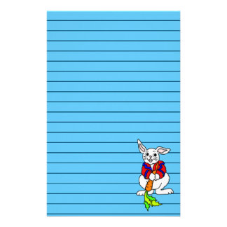 Cute Boy Bunny Art Graphic Lined Personalized Stationery