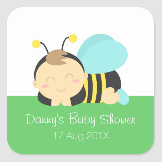 Cute Bumble Bee Boy Baby Shower Square Sticker