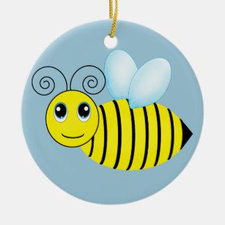 Cute Buzzing Honey Bee Round Ceramic Decoration