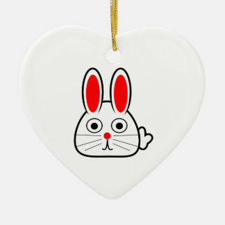 Cute Cartoon Bunny Rabbit Ceramic Heart Decoration
