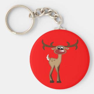 Cute Cartoon Deer Basic Round Button Key Ring