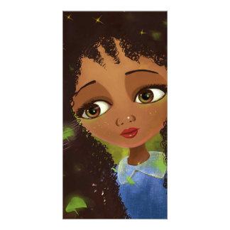 cute cartoon girl green eyes picture card