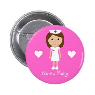 Cute Cartoon Nurse & Hearts Personalized Pink 6 Cm Round Badge