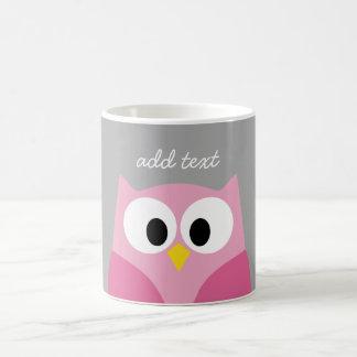 Cute Cartoon Owl - Pink and Gray Custom Name Basic White Mug