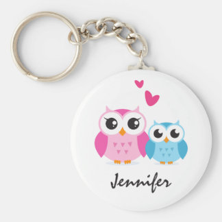Cute cartoon owls with hearts personalized name basic round button key ring