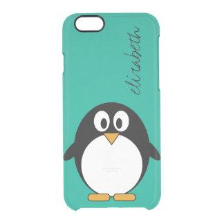 cute cartoon penguin emerald and black clear iPhone 6/6S case