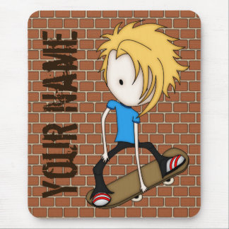 Cute Cartoon Skateboarder Teen Boy Blonde Hair Mouse Pad
