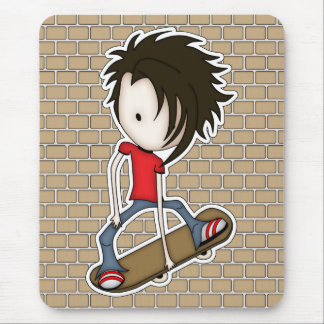 Cute Cartoon Skateboarder Teenage Boy Mouse Pad