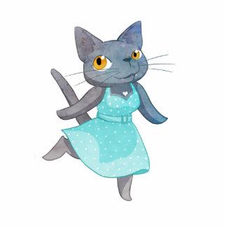 Cute Cat in a Polka Dot Dress Photo Sculpture Magnet
