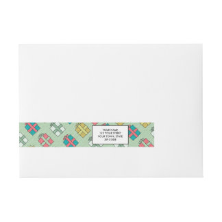 Cute Christmas Presents Pattern Wraparound Address Label