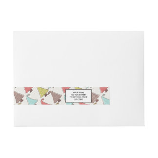 Cute Christmas Trees Pattern Wraparound Address Label