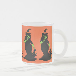 Cute Chubby Green Witch Frosted Glass Mug