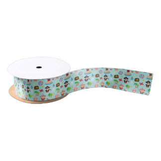 Cute Colourful Pirate Pattern Kids Birthday Party Satin Ribbon