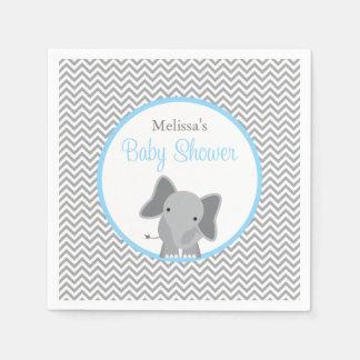 Cute Elephant Chevron Light Blue Baby Shower Disposable Napkins